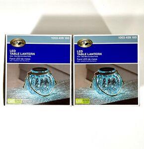 Hampton Bay Solar Lantern LED lamp Light Decorative Glass - Pack Of 2