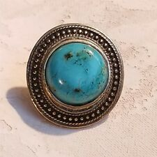 Dotted Antiqued Brass Turquoise Magnesite Gemstone Domed Statement Ring 42x39mm