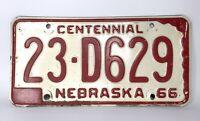 Vintage 1966 Nebraska CENTENNIAL License Plate Collector 23 D629