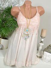 HIPPIE Crochet ROBE TUNIQUE Franges BRETELLES HAUT Vintage Rose IBIZA 36 38 40