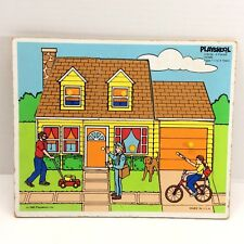 Toddler Playskool Easy Wood Puzzle Vtg 1986 #379-04 Home Double Picture 4 piece