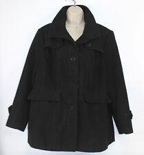 Nicole Miller Black Coat Pea Coast Dress Casual Button up Jacket XXL