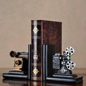 Retro Movie Film Projector Camera Bookends Creative Book Stand Resin 15x7.5x15cm