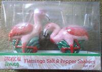 NIB Set of 2 Flamingo Salt & Pepper Shakers Ceramic By Tropical Living