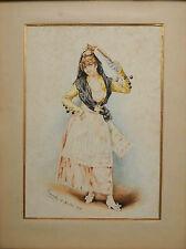 Tableau aquarelle 1893 la Belle Andalouse à l'éventail signée Recuerdo