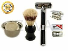 Cut Throat DE Shaving Safety Razor Shaving Cup Soap Brush & 10 Dorco Blades