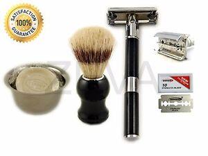 Cut Throat DE Shaving Safety Razor Shaving Cup Soap Brush & 10 Dorco Blades