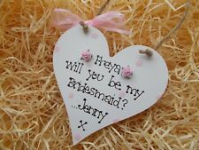 Personalised Will You Be My Bridesmaid Heart Plaque Gift Keepsake