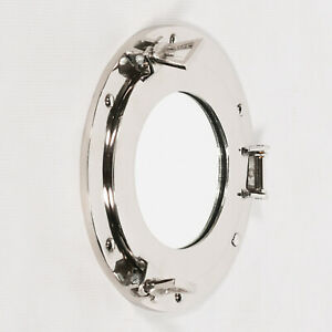 Nautical Industrial Metal Ship Style Silver Chrome Bathroom Porthole Wall Mirror
