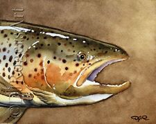 """Fly Fishing """"BROWN TROUT"""" Watercolor 8 x 10 ART Print Signed by Artist DJR"""