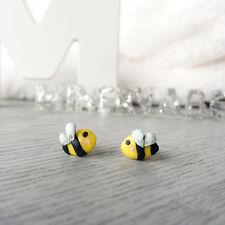 Bee Earrings Handmade Honeybee Polymer Clay Stud Earrings Surgical Steel Post