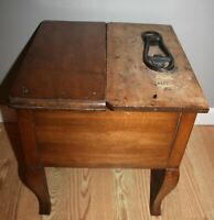 ANTIQUE SOLID HEAVY WOOD RARE SHOE SHINE BENCH FOOT STOOL END TABLE FLIP LID!