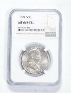 MS66+ FBL 1958 Franklin Half Dollar - Graded NGC *0864