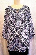 Anthropologie Fig & Flower Size 1X Sheer Blue Boho Print Lace Back Peasant Top
