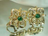 Sparkling Ice Green Rhinestone Gold Tone Vintage 60's Screw Back Earrings 517j20