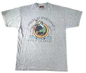 Vtg 90s Mickey Unlimited Goofy Golf Mens T Shirt Sz L Gray American Sportsman