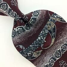 SURREY TIE US MADE MAROON Gray ART DECO Silk Necktie Excellent Ties I7-149