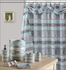 8Pcs Venezia Aqua High Quality Scarf shower Curtain set + Bath Window Curtain