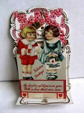 Vintage Pull Down Valentines Day Card Boy Giving Card to Girl To My Valentine