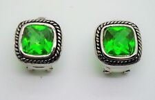 A178 EXQUISITE Balinese Silver Cable Dark Periodt CZ Crystal Omega Latch Earring