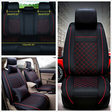 Deluxe Edition PU Leather M Size 5-Seat Car Seat Cover & Neck Pillow &Lumbar Mat