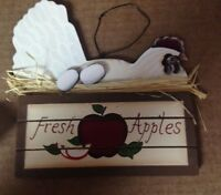 CHICKEN HEN eggs FRESH APPLES wood country kitchen farmhouse decor wood sign 6x7