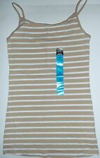 Ladies Beige and White Striped Cotton NON-Ribbed Cami Top from Primark