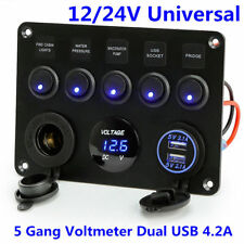 UK!! 5 Gang ON-OFF Toggle Switch Panel 2USB 12V Fit Marine Truck Camper Car Boat