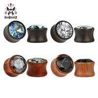 1 Pair (2 pcs) Wooden Inlaid Zircon Ear Gauges Plugs Tunnels Earrings