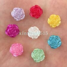 NEW 40PCS 12mm pearl rose beads flower Flatback Wedding Buttons crafts DIY