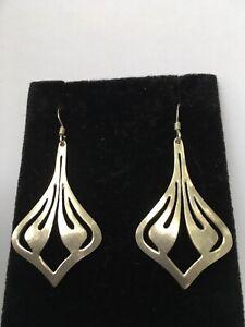 VINTAGE 925 Sterling Silver Drop Dangle Hook Floral Earrings