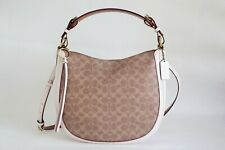 NWT COACH SUTTON SIGNATURE CANVAS AND LEATHER SHOULDER BAG TAN CHALK