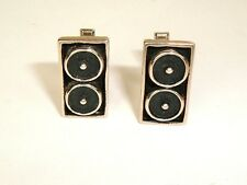 Vintage Pat. Pending Mod Silver Tone Black Accent Geometric Cuff Links