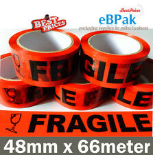 5x Fragile Tape - RED & Black - 75M x 48mm 75 meter Packaging Packing Tape