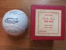 Vintage Official Clincher No. F16 - 16 In. Softball - Steam Welded Kapok w/ Box