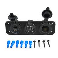 Top Quality 3in1 Car Triple USB Charger Port + Voltmeter + Cigarette Lighter 12V