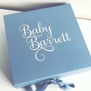 LARGE BLUE GIFT BOX PERSONALISED BABY BOY BRIDE GROOM HUSBAND BIRTHDAY BOX