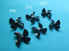 A pair 4 blade ( D50 55 60mm ) Pc full immersion propeller 4mm prop for Rc Boat