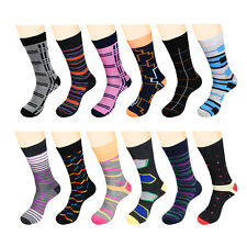 Gelante New Mens Funky Dress Socks Fashion Casual 12 Pairs size 10-13