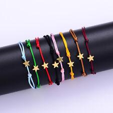 Women Kids Cross Heart Star Bracelet Adjustable Rope Bangle Handmade Decor