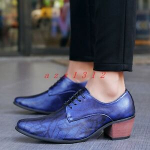 Men Pointy Toe Lace Up Low Cuban Heel British Casual Formal Wedding Shoes Party