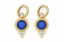 Lapis Diamond Charms and Gold Hoops