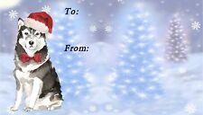 Alaskan Malamute Dog Christmas Labels by Starprint - No. 2 design