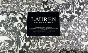 Ralp Lauren Tamarind Birds Toile 3Pc King Duvet Set Gray, Black & White Cotton