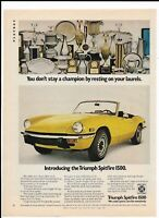 Vintage 1973 Yellow TRIUMPH SPITFIRE 1500 Print Ad - Stay a Champion