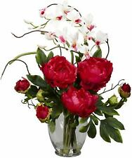 New! Nearly Natural Red Peony & Orchids Artificial Flower Arrangement Glass Vase