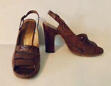 Vintage 1960's - 70's Snakeskin Shoes Sandals 6 B Bloomingdale's Heels Open Toe