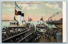 Postcard MI Detroit Michigan Excursion Steamers Tashmoo Dock Scene c1910 AF8