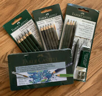 Lot of 4 Faber Castell Graphite Set And Watercolor Pencils Brand New Sketch Draw