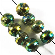 Lot de 50 perles en verre Décorées 6mm Vert